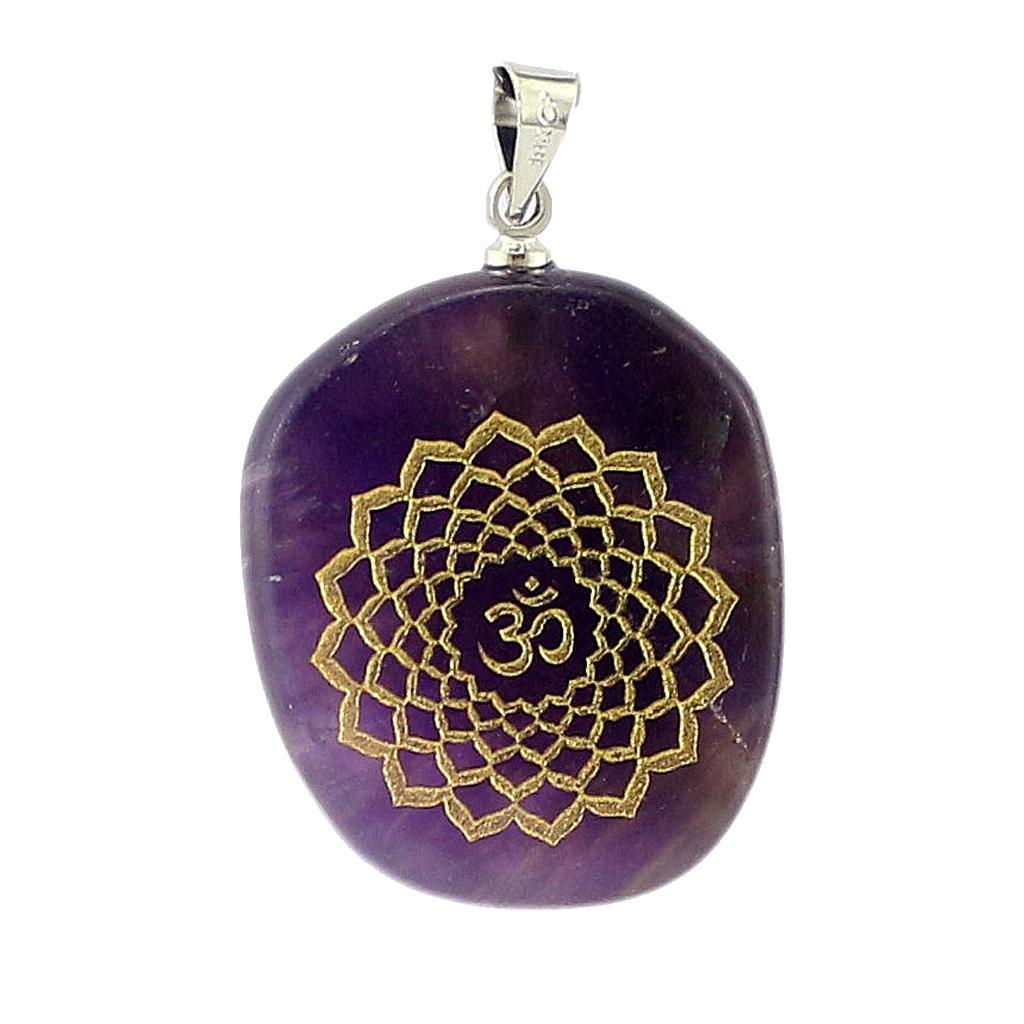 Engraved Amethyst Chakra Reiki Energy Healing Crystal Jewellery Pendant