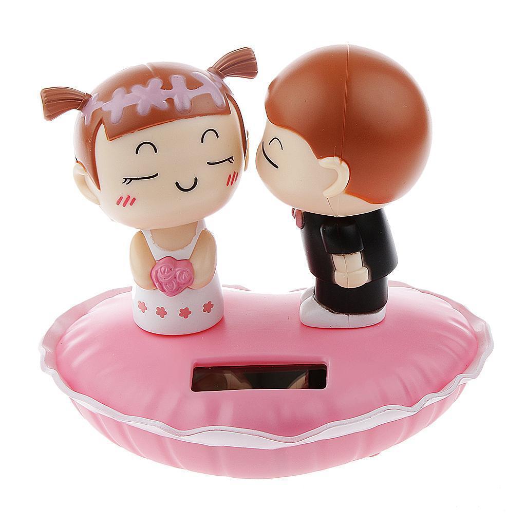 Cute Plastic Solar Power Kiss Doll Car Interior Ornament Home Decor Toy Gift