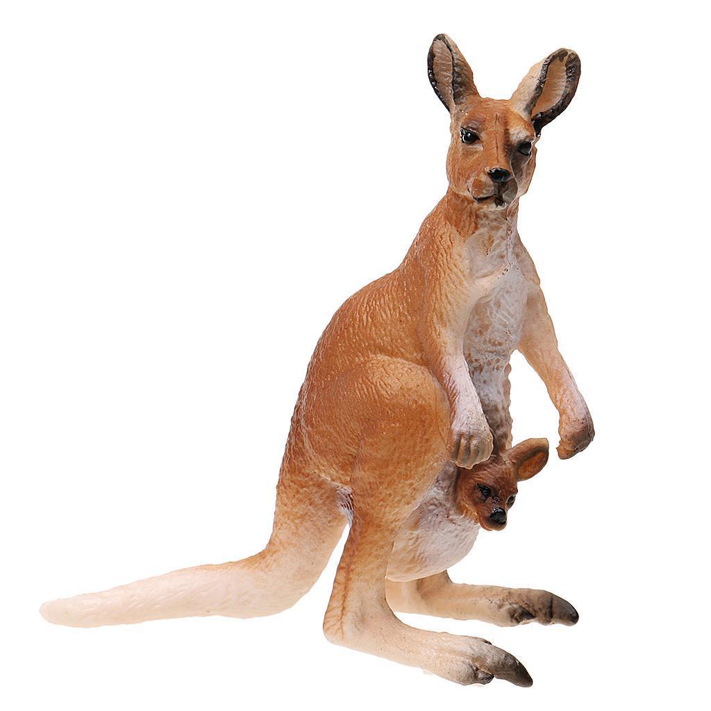 Realistic Kangaroo with Joey Wild Animal Model Action Figure Kids Toy Gift