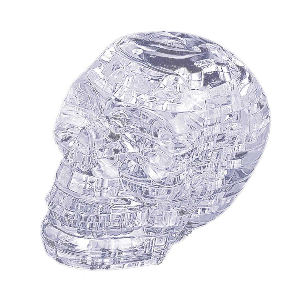 3D Crystal Puzzle Jigsaw DIY Skull Head Model Blocks Desk Toys Transparent