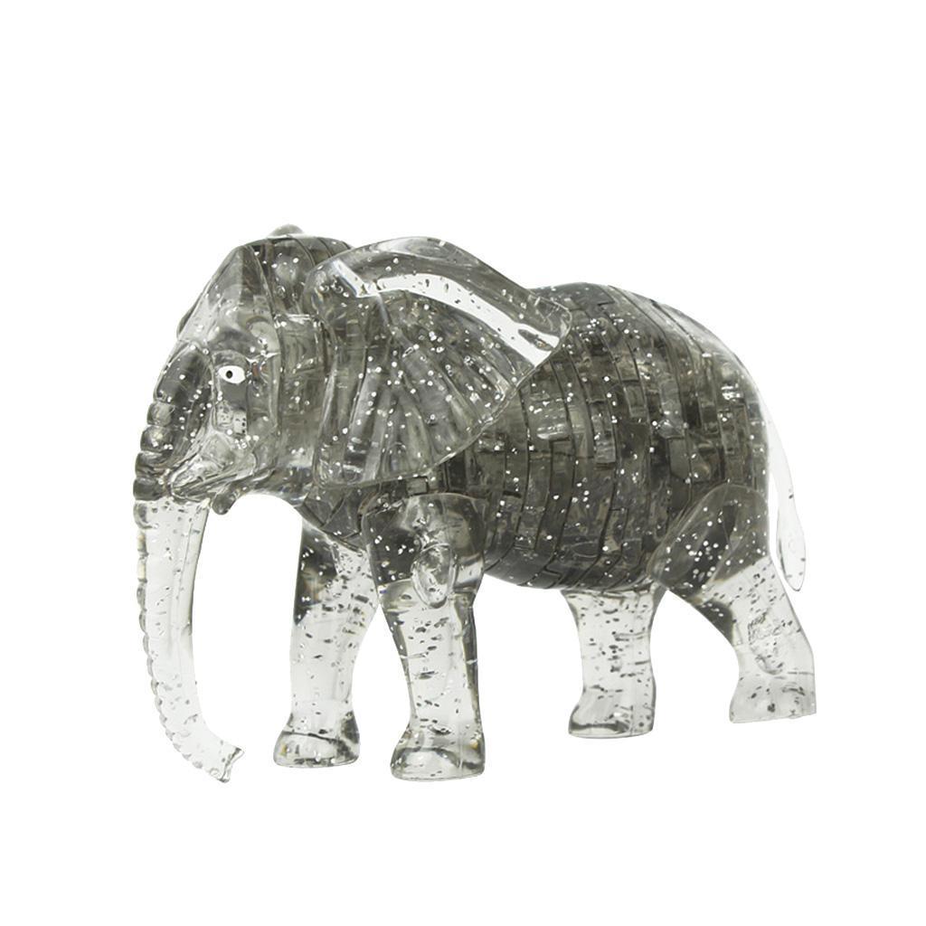 3D Crystal Puzzle Jigsaw DIY Elephant Model Blocks Office Desk Toy Gray