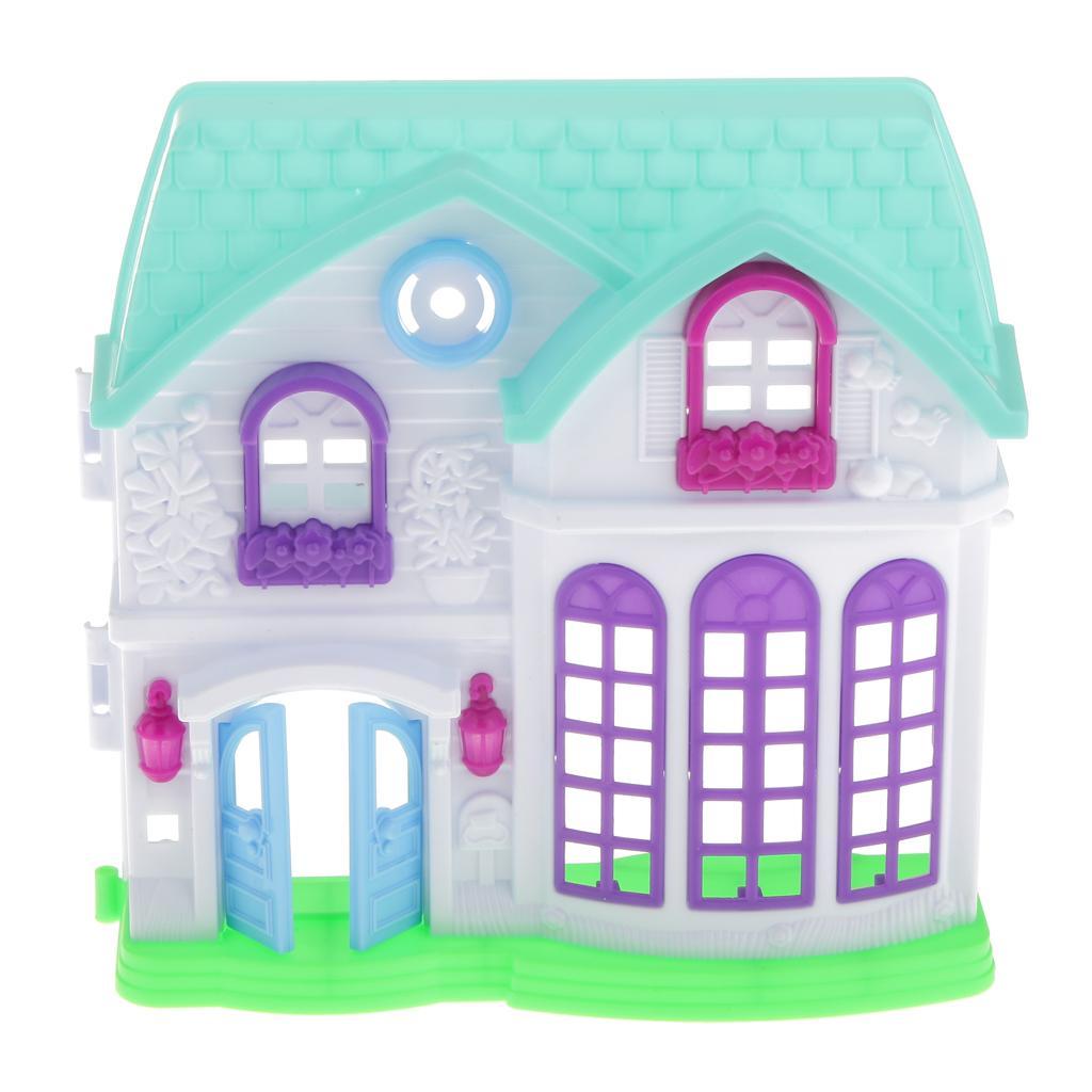 Plastic Dollhouse Mini Building House Model Mini Mansion Doll Accessories