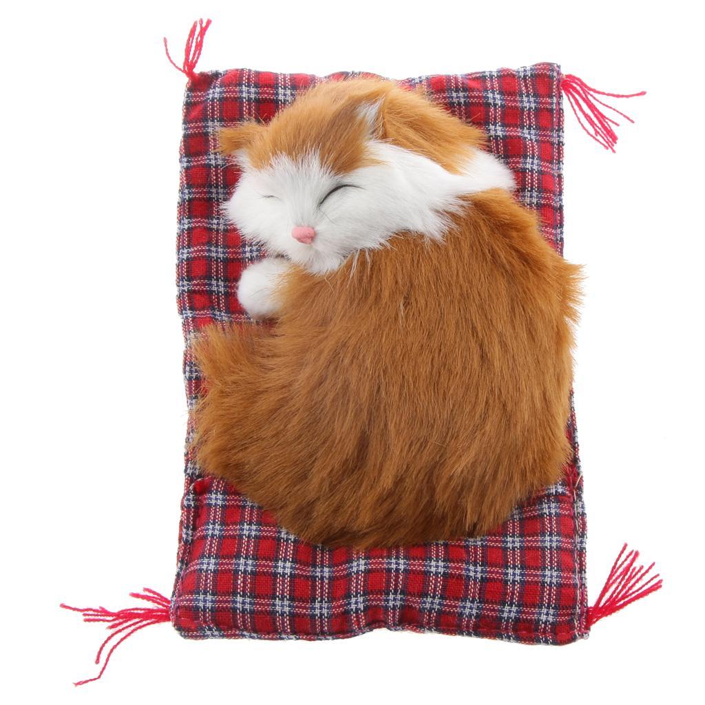 Lifelike Cloth Pad Cat Doll Plush Animal Toy Home Ornament Office Decor #4