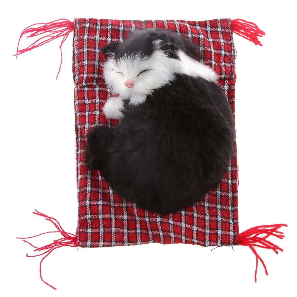Lifelike Cloth Pad Cat Doll Plush Animal Toy Home Ornament Office Decor #5