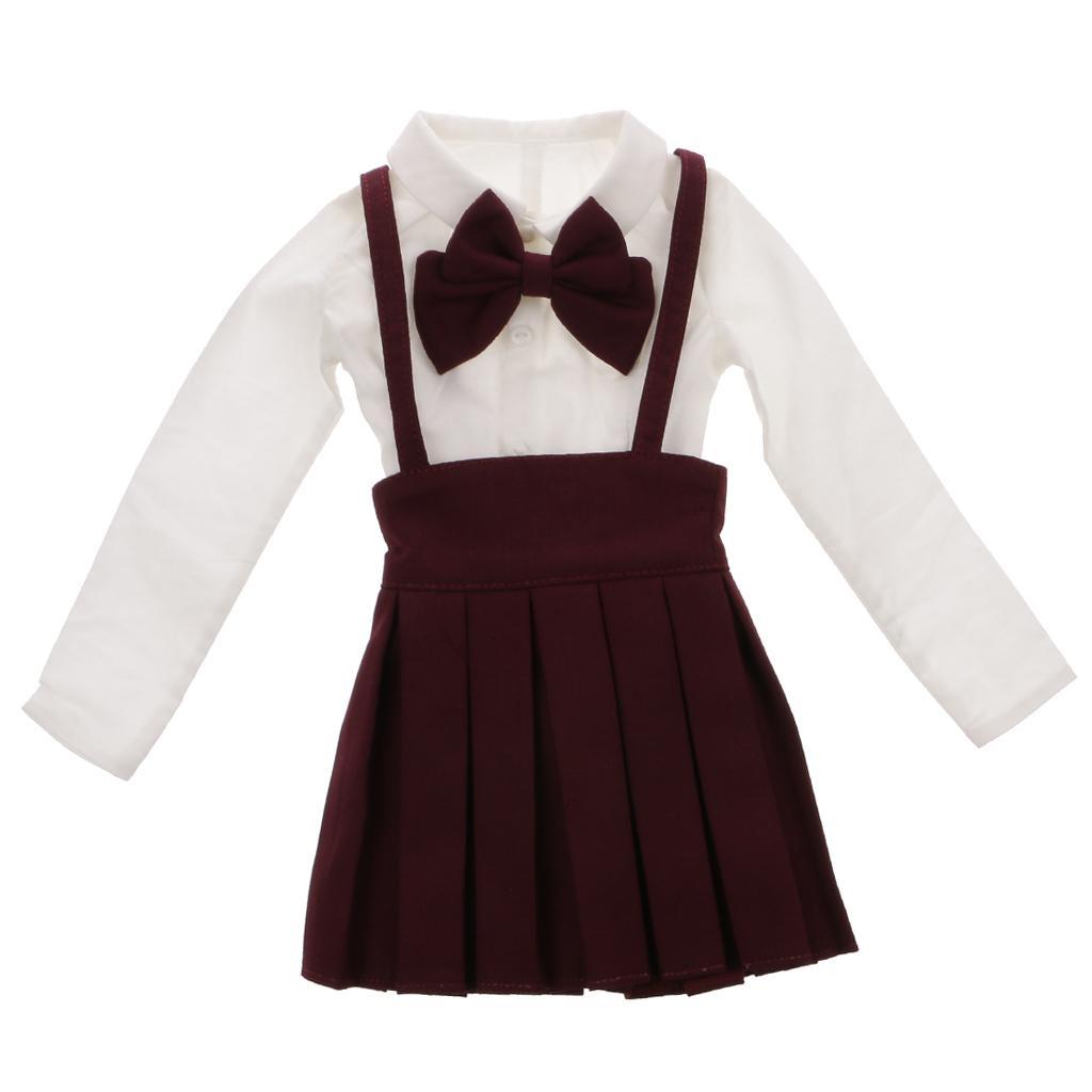 Wine Red Bowknot Suspender Skirt & White Shirt Set for 1/3 BJD SD LUTS Dolls