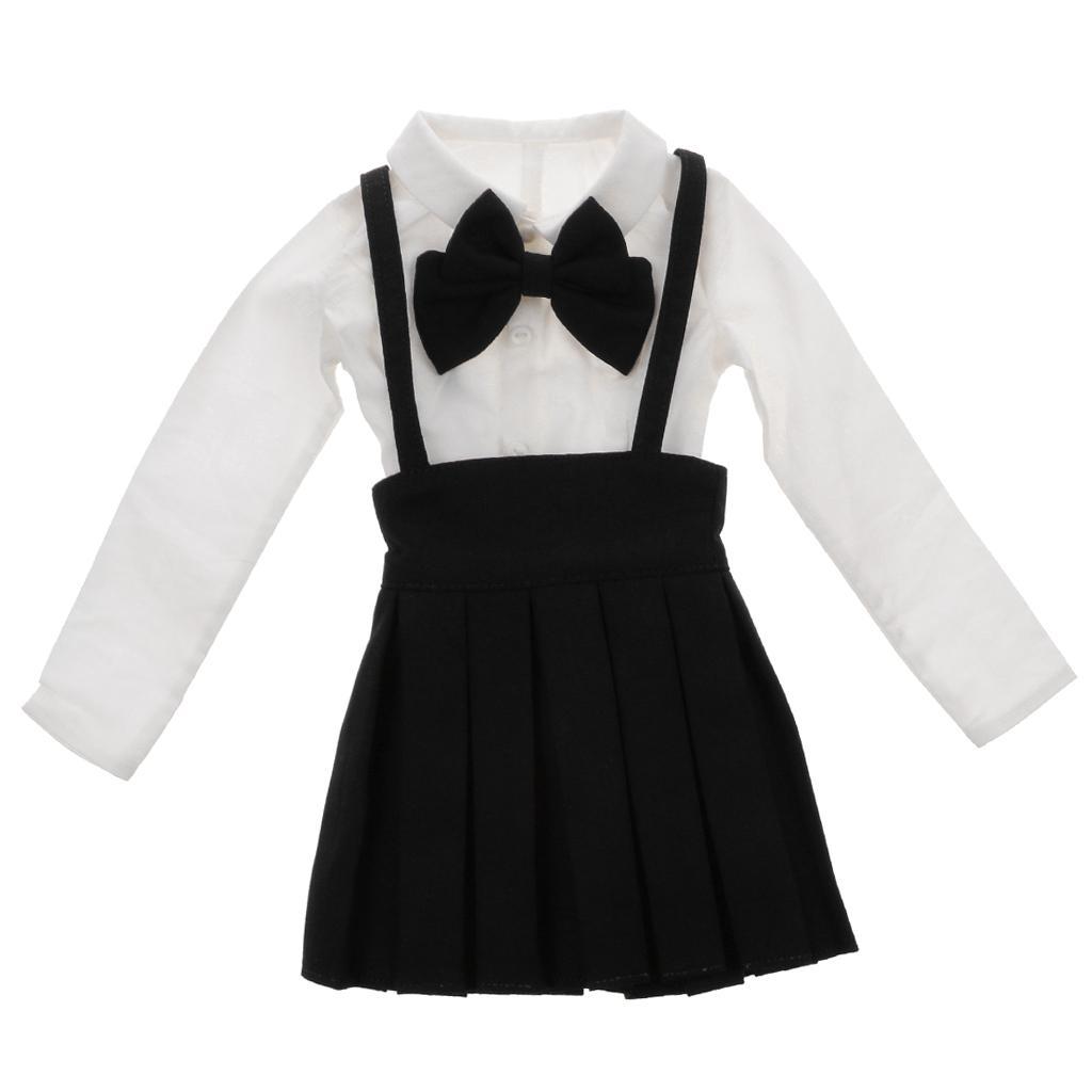 Navy Blue Bowknot Suspender Skirt & White Shirt Set for 1/3 BJD SD LUTS Doll