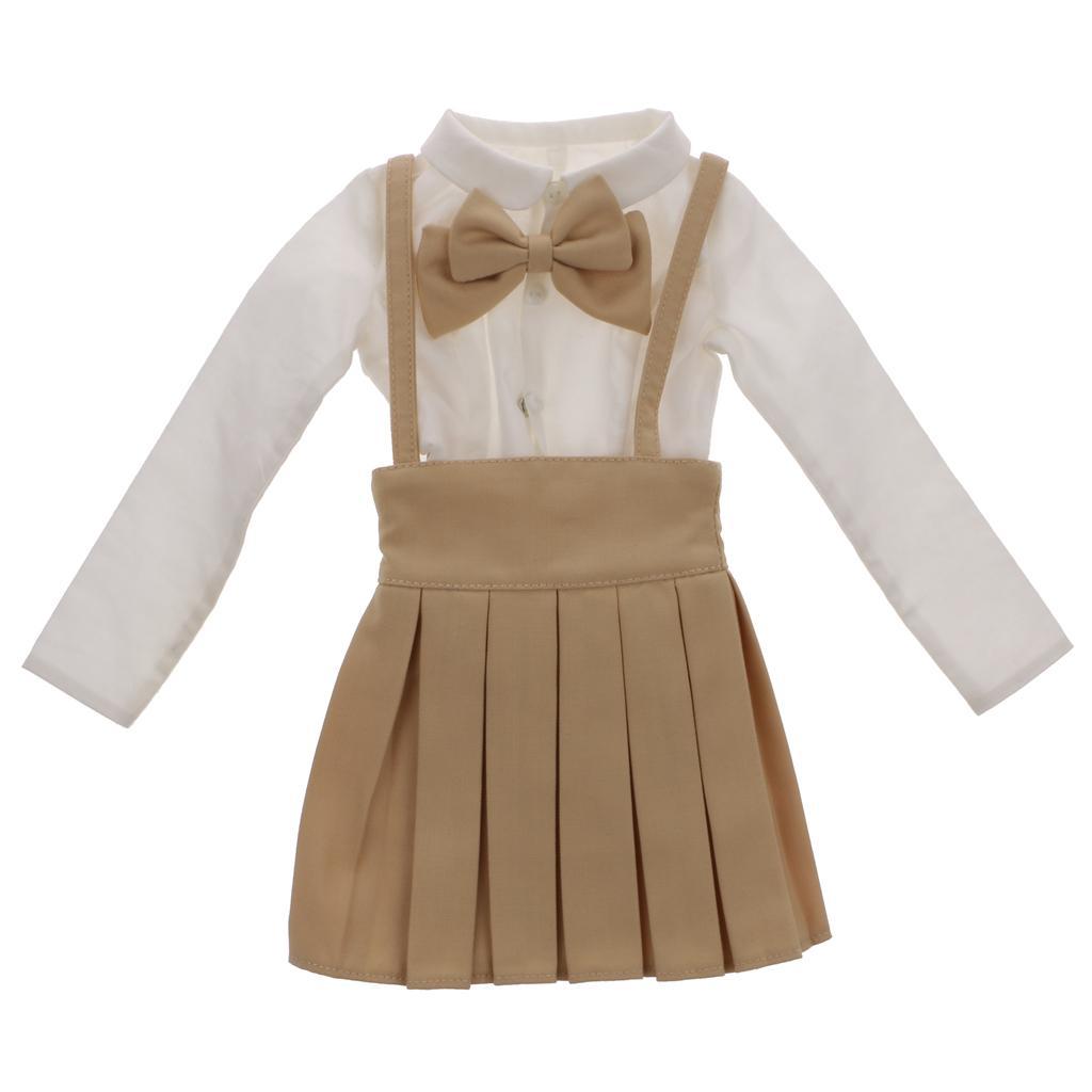 Khaki Bowknot Suspender Skirt & White Shirt Set for 1/3 BJD SD LUTS Dolls
