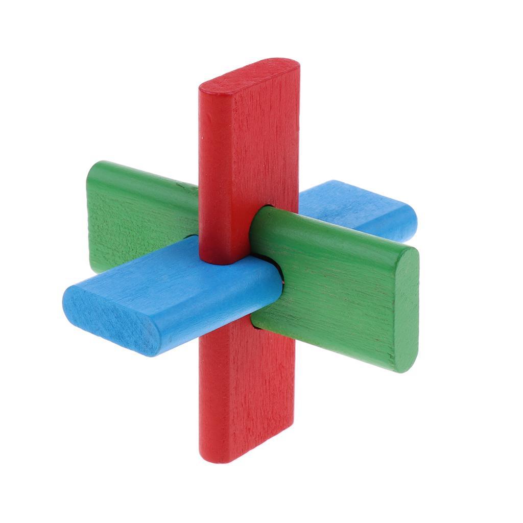 Wooden Intelligence Toy Kong Ming Lock Brain Teaser Game - 3 Sticks Lock