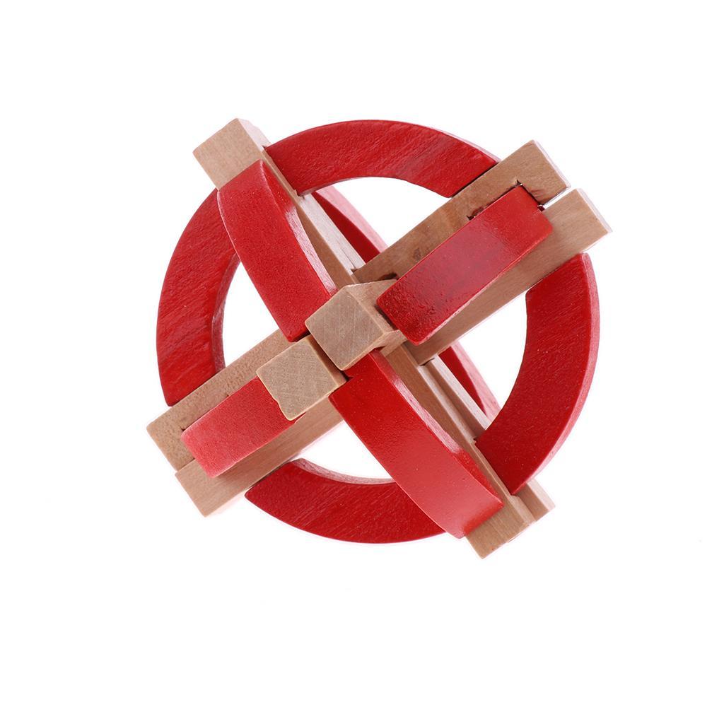 Globe Shape Wooden Kong Ming Lock Brain Teaser Intelligence Toy