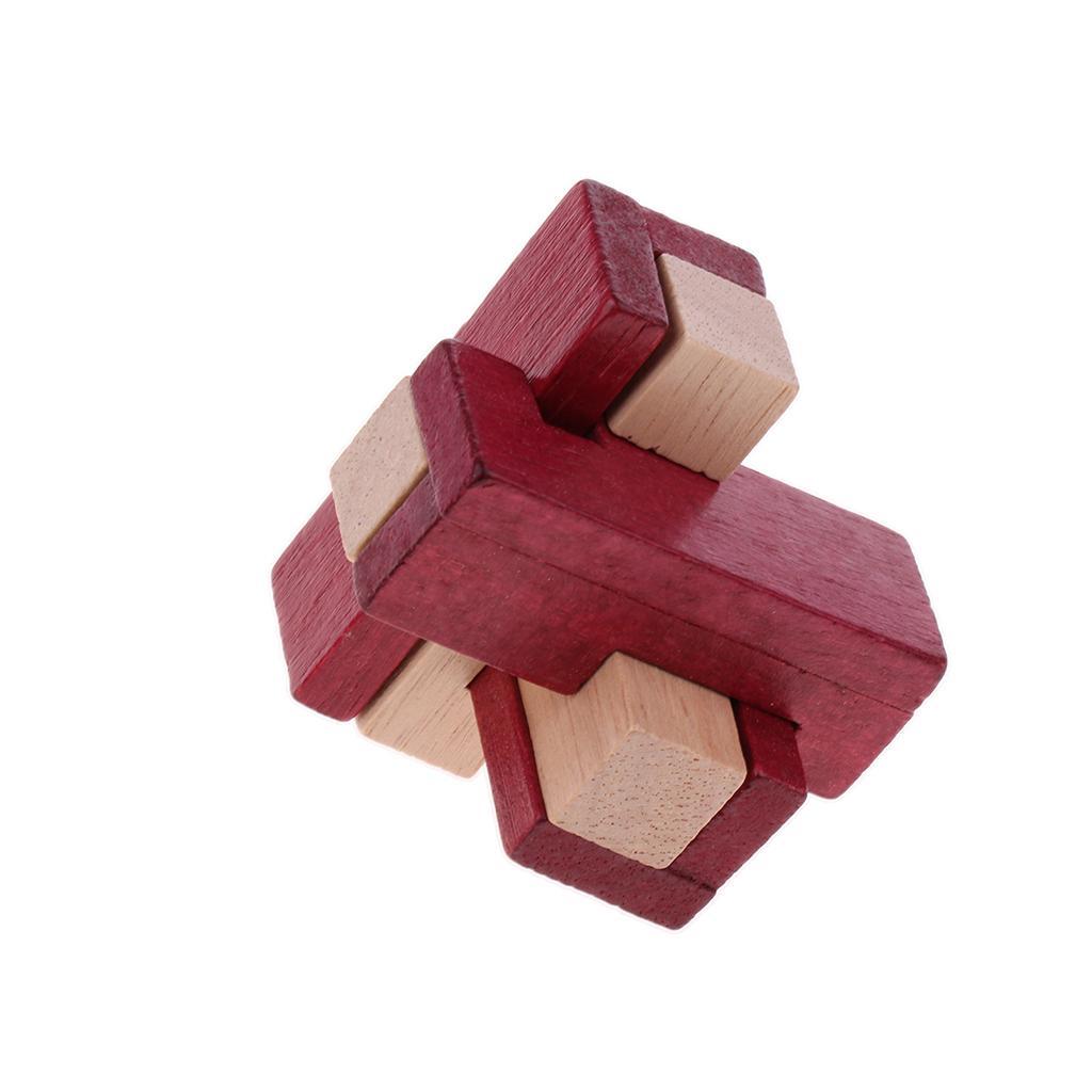 3D Triangle Shape Wooden Kong Ming Lock Brain Teaser Intelligence Toy