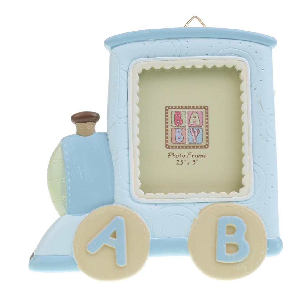 Train Locomotive Kids Birthday Baby Boys Girls Photo Frame Home Decor Blue