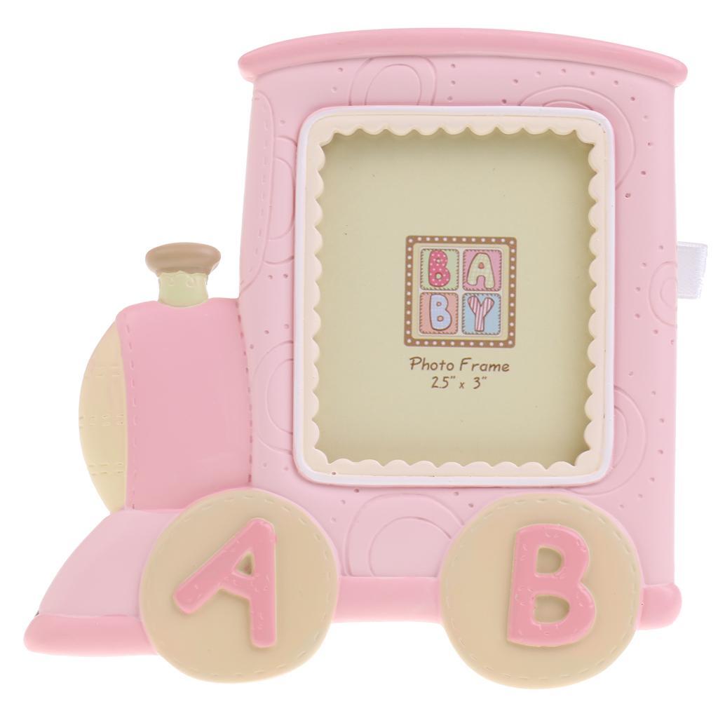Train Locomotive Kids Birthday Baby Boys Girls Photo Frame Home Decor Pink