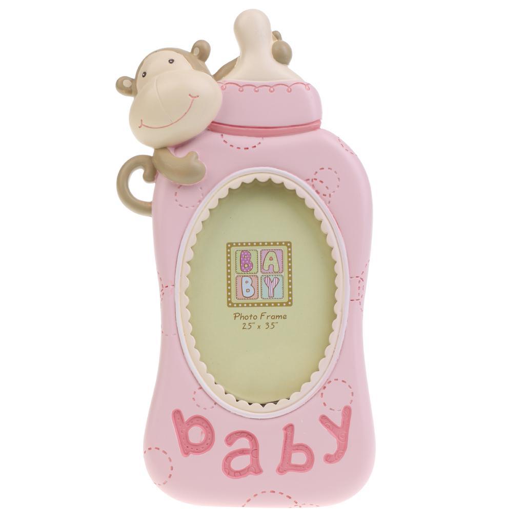 Cartoon Monkey Kid Birthday Favor Baby Boy Girl Milk Bottle Photo Frame Pink