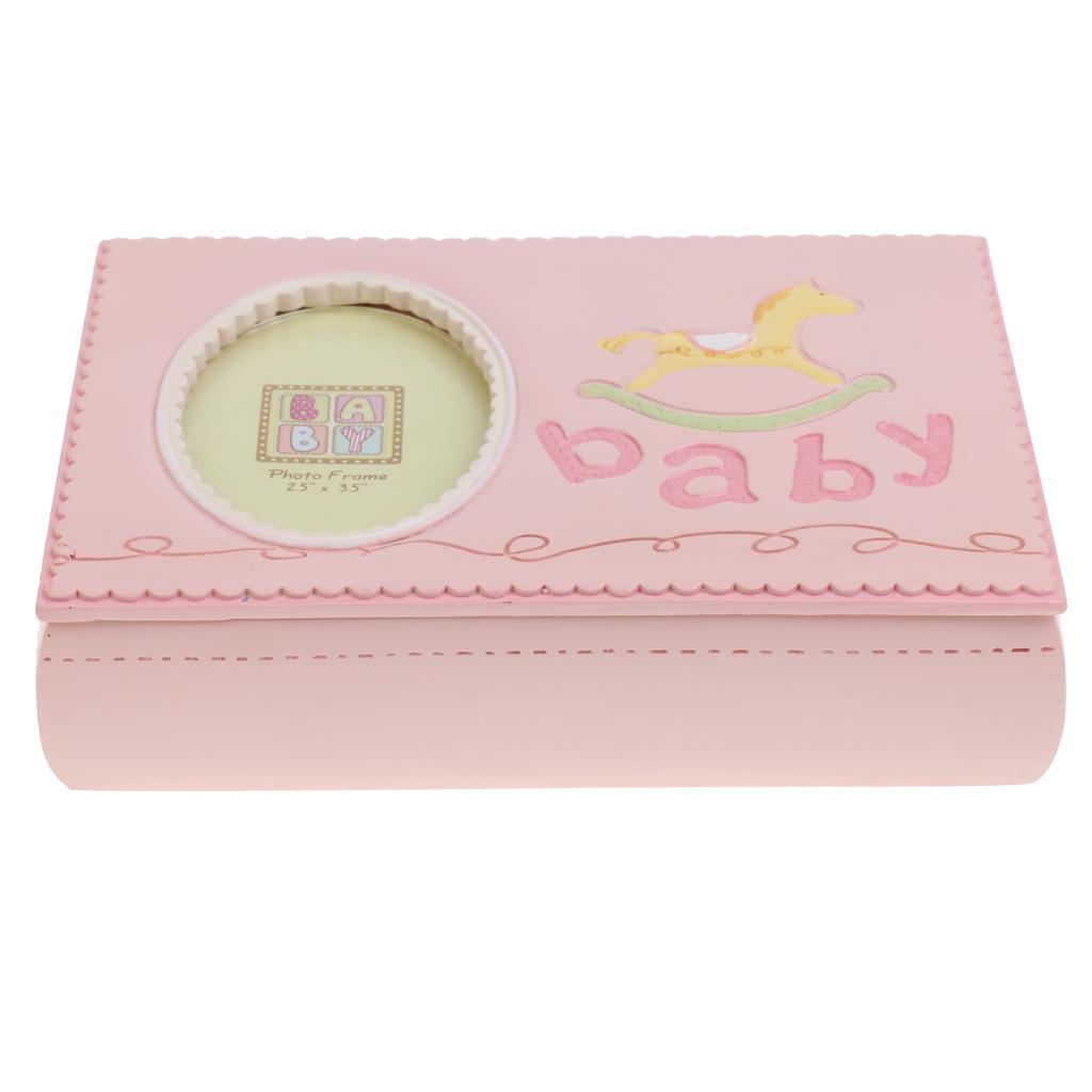 Baby First Curl Trinket Box Hobbyhorse Photo Frame Keepsake Baby Shower pink