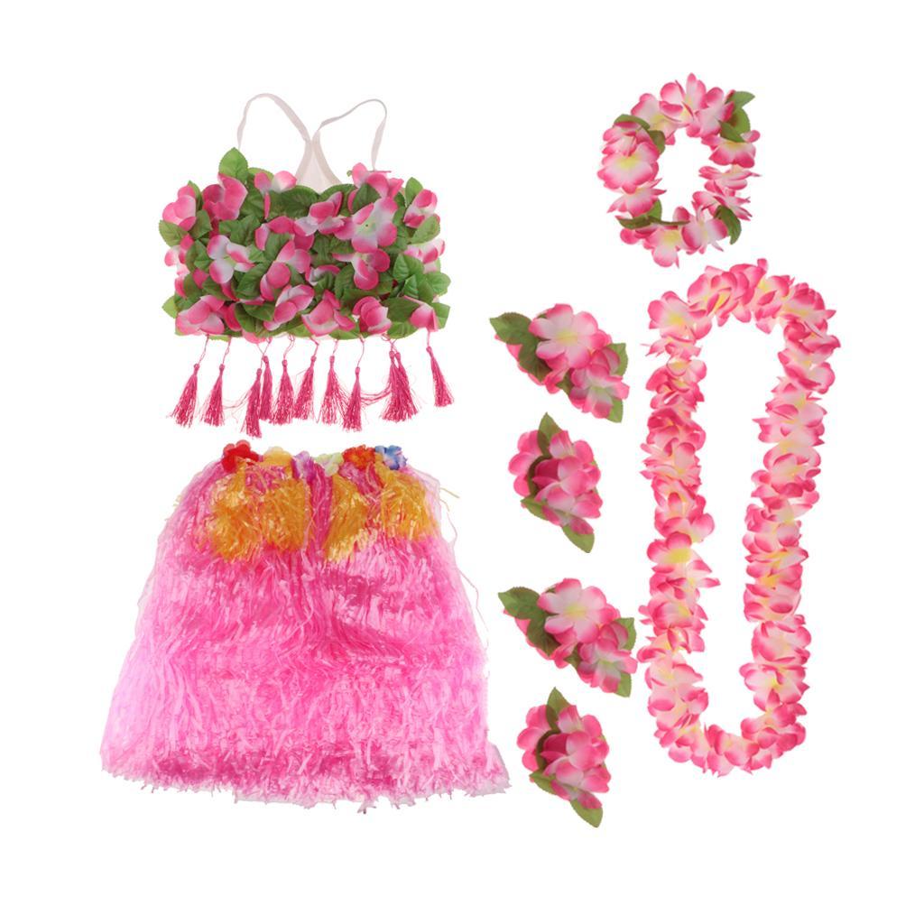 8/set Girls Women Hawaiian Hula Grass Skirt Bra Lei Set Costume 60cm Pink