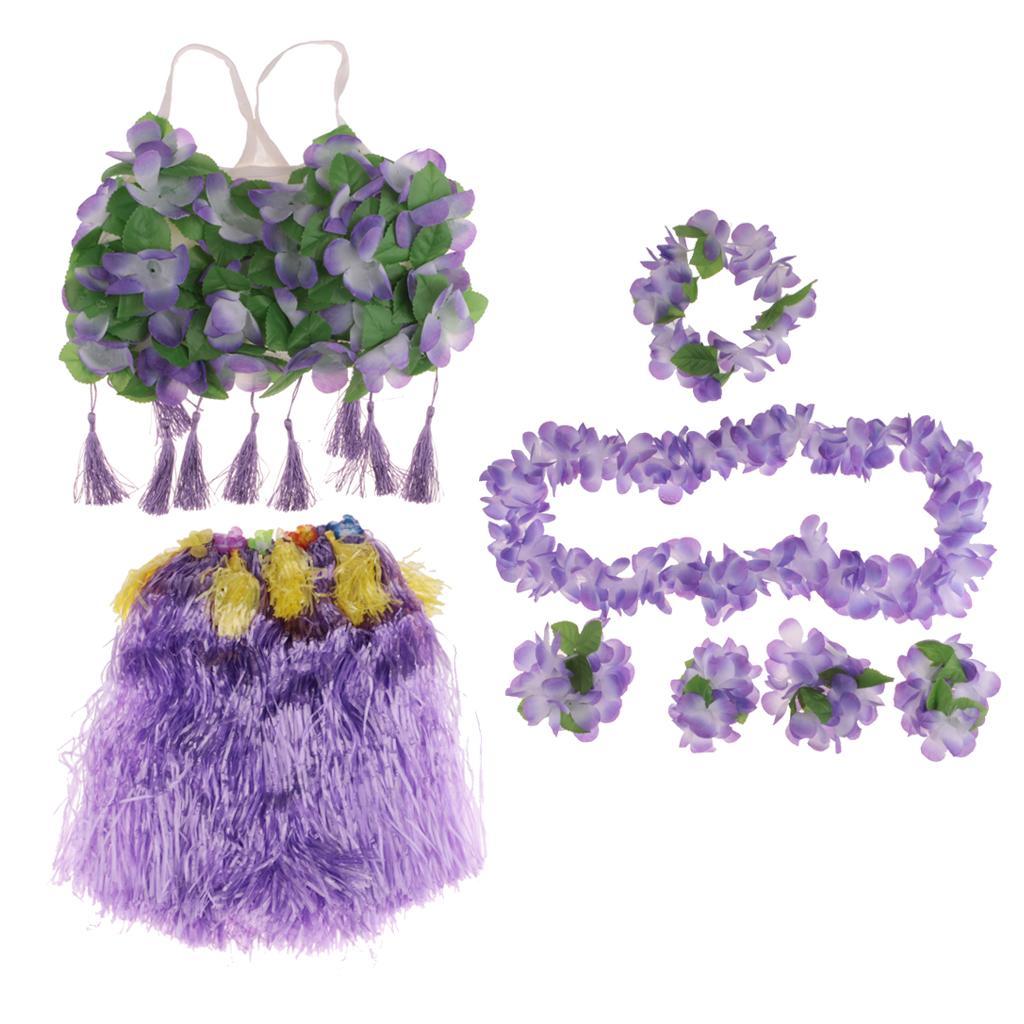 8/set Girls Women Hawaiian Hula Grass Skirt Bra Lei Set Costume 60cm Purple