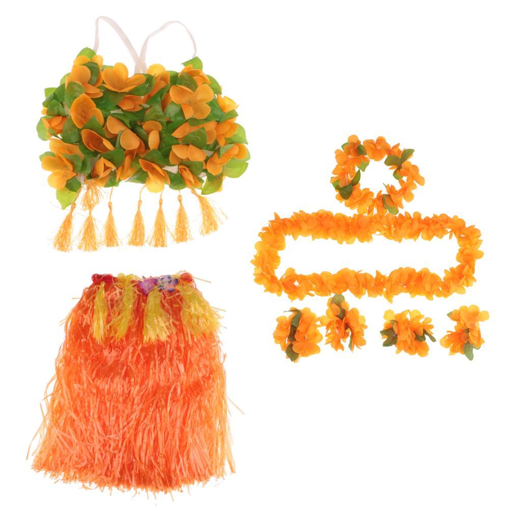 8/set Girls Women Hawaiian Hula Grass Skirt Bra Lei Set Costume 60cm Orange