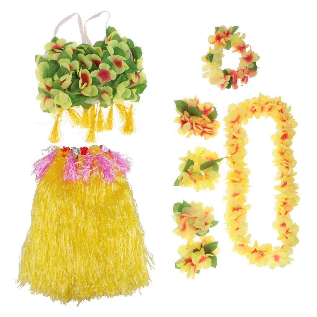 8/set Girls Women Hawaiian Hula Grass Skirt Bra Lei Set Costume 80cm Yellow