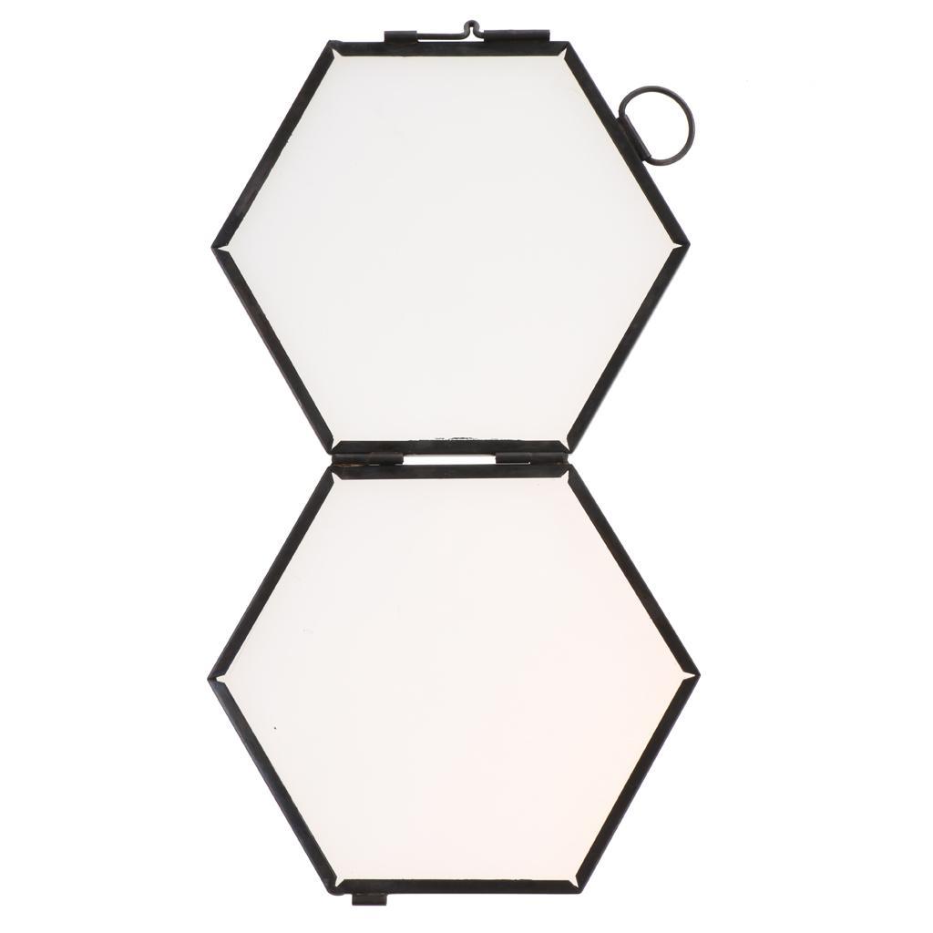 Vintage Hexagon Metal & Glass Picture Photo Frame Hanging Frame black