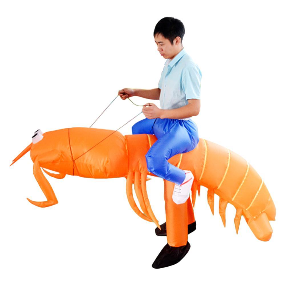 Inflatable Lobster Costume Blow Up Big Mantis Shrimp Rider Fancy Dress