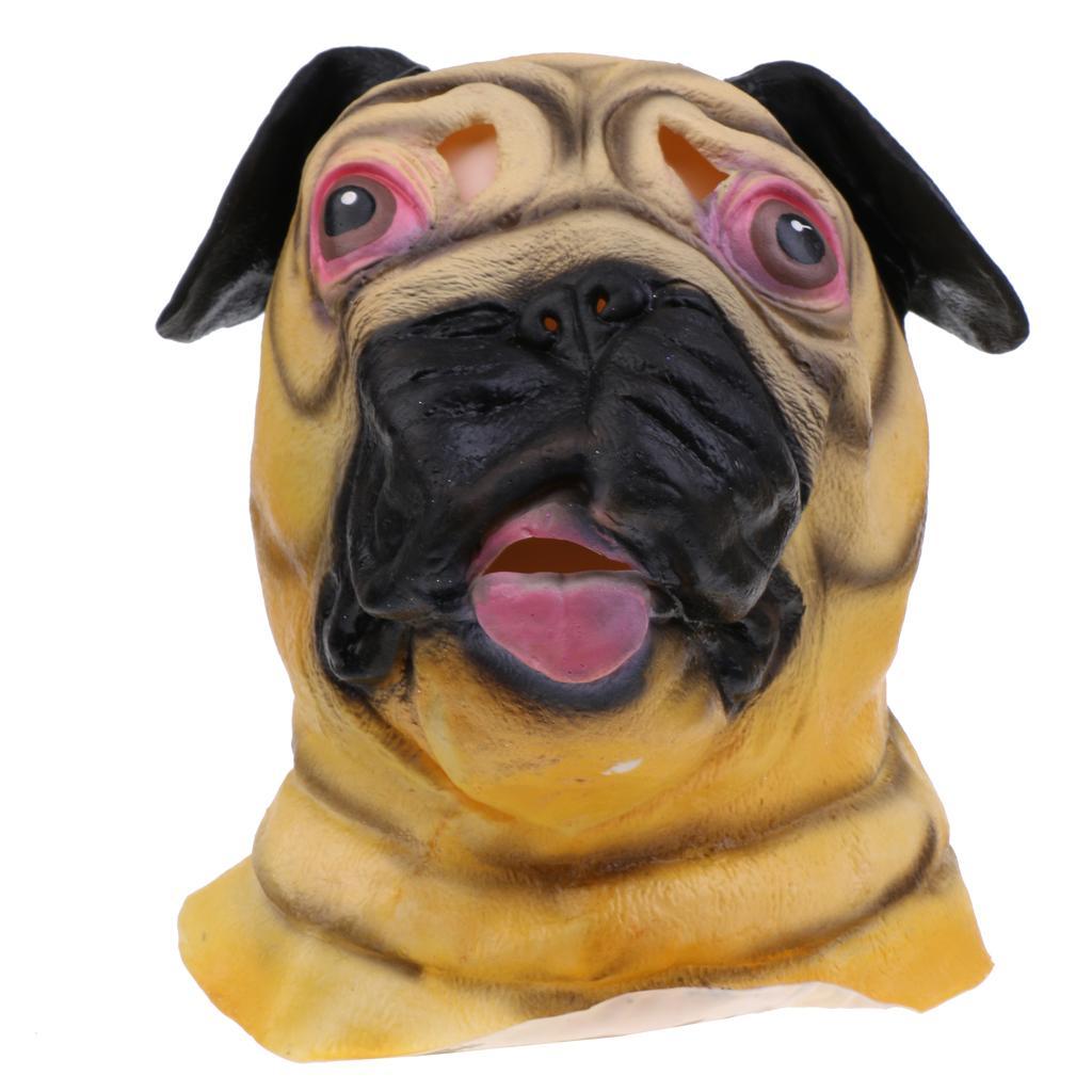 Latex Full Head Realistic Pug Dog Animal Head Mask Halloween Fancy Costume