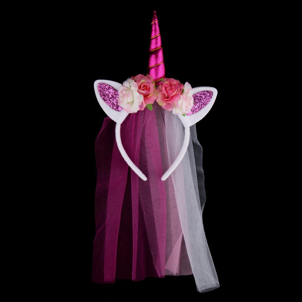 Unicorn Rose Flower Veil Headband Costume Cosplay Party Fancy Dress Rose Red