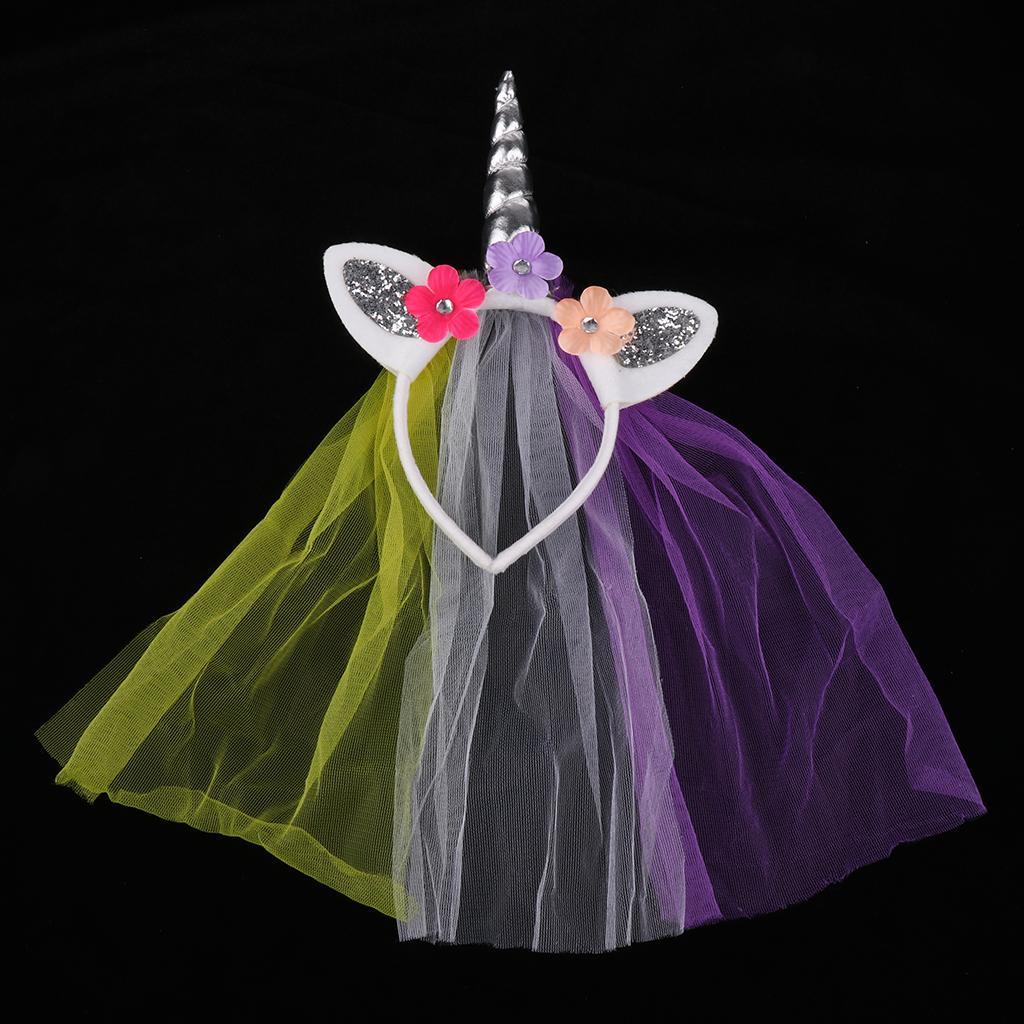 Unicorn Rose Flower Veil Headband Costume Cosplay Party Fancy Dress Silver