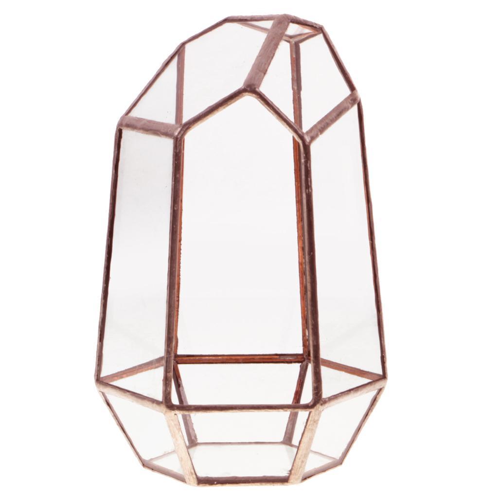 Irregular Glass Geometric Terrarium Box Plant Planter 10 x 10 x 15cm Copper
