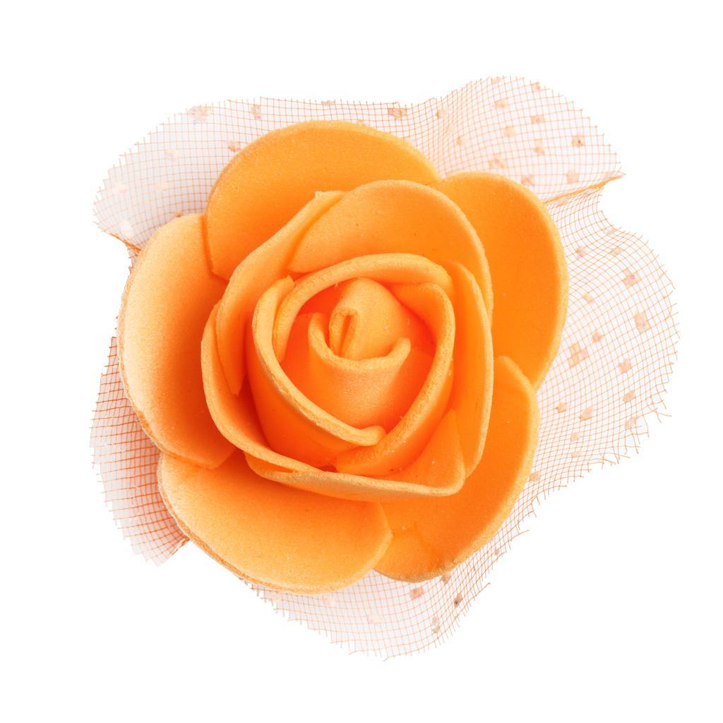 100pcs Artificial Foam Rose Head Flowers Wedding Home DIY Craft Decor Orange