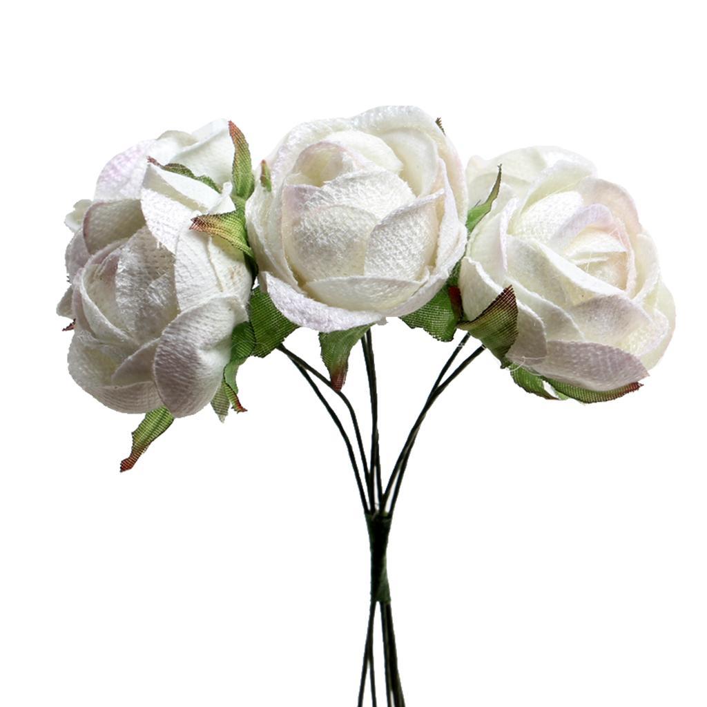 6pcs/set Silk Rose Bride Bouquet Artificial Flowers DIY Decor White