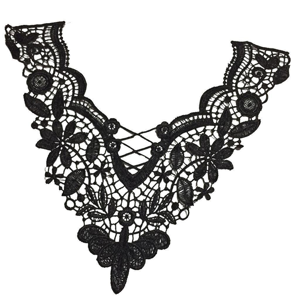 V-neck Neckline Collar Embroidery Lace Trim Applique Patch for Se...