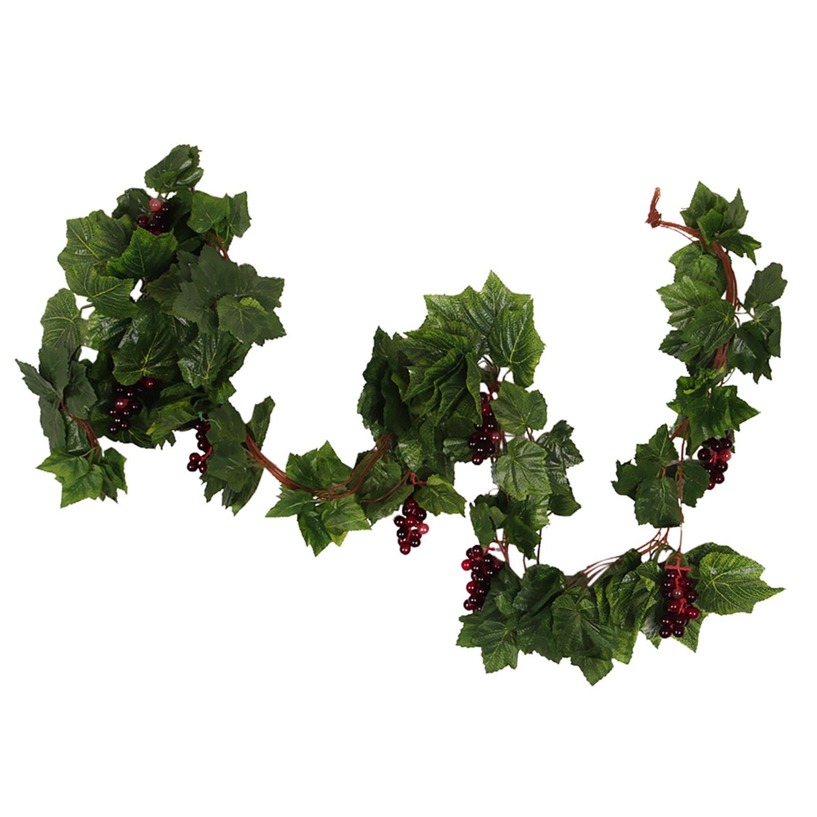 Artificial Plants Wired Silk Grape Vine Fake Fruit Rattan with Plastic Grape