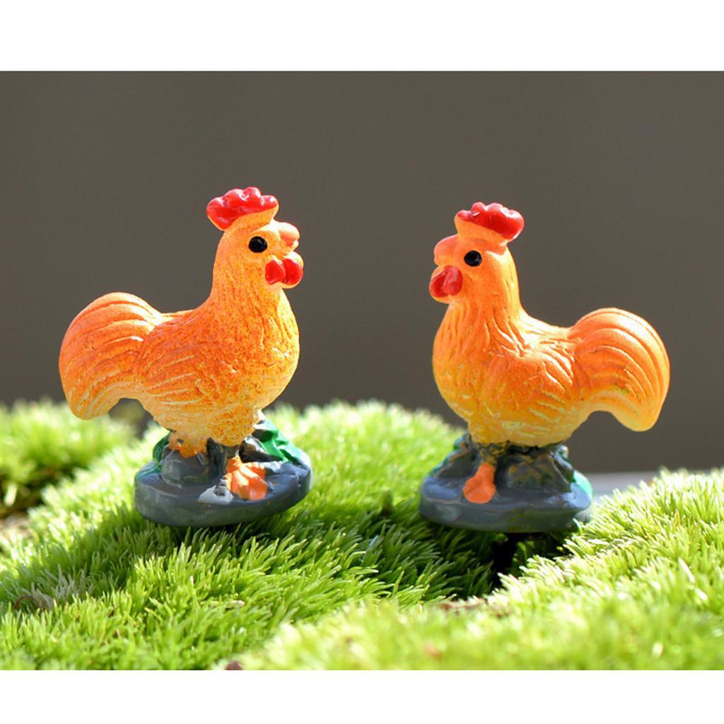 10 pieces Mini Cock Rooster Statue Bonsai Fairy Garden Micro Landscape Decor