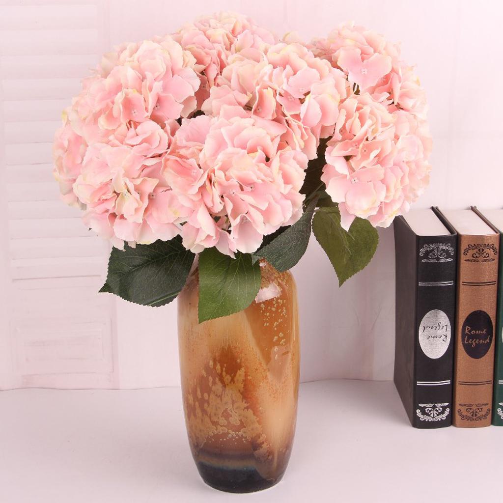 Artificial Flower Hydrangea Bloom Silk Bouquet Party Home Decor Flesh pink