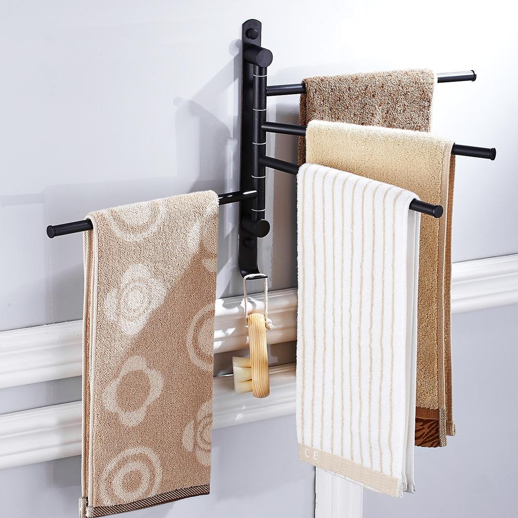 Bath Accessory Towel Rack Swivel Tower Bar Rail Storage Shelf black 2 Arms