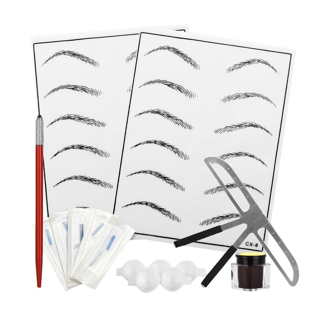 Permanent Eyebrow Makeup Kit Tattoo Pen Needle Practice Skin Ink Cup Red