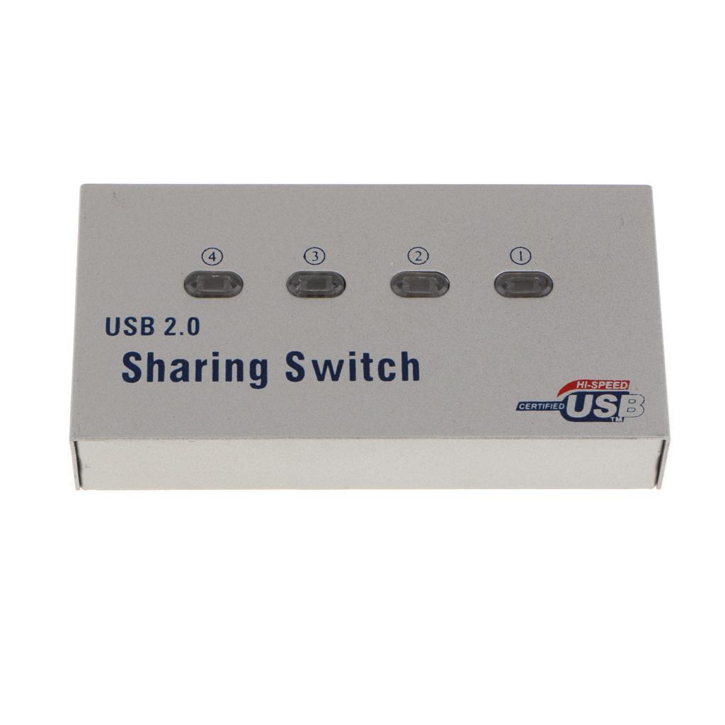 4-Port USB 2.0 Auto Sharing Switch Hub for Printer Scanner Comput...