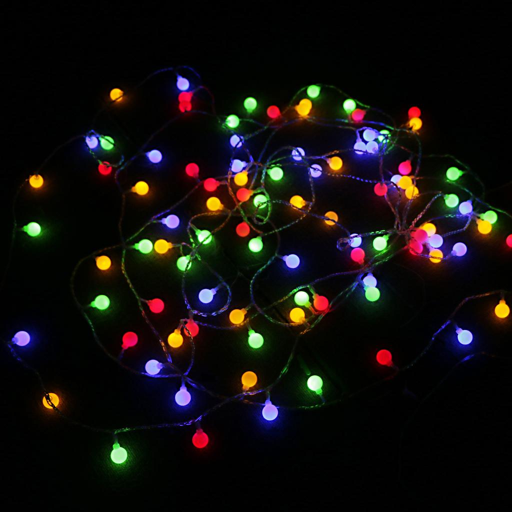 11M 100Pcs Lamp Balls Party Night Light Decor Lighting Fairy Lamp Colorful