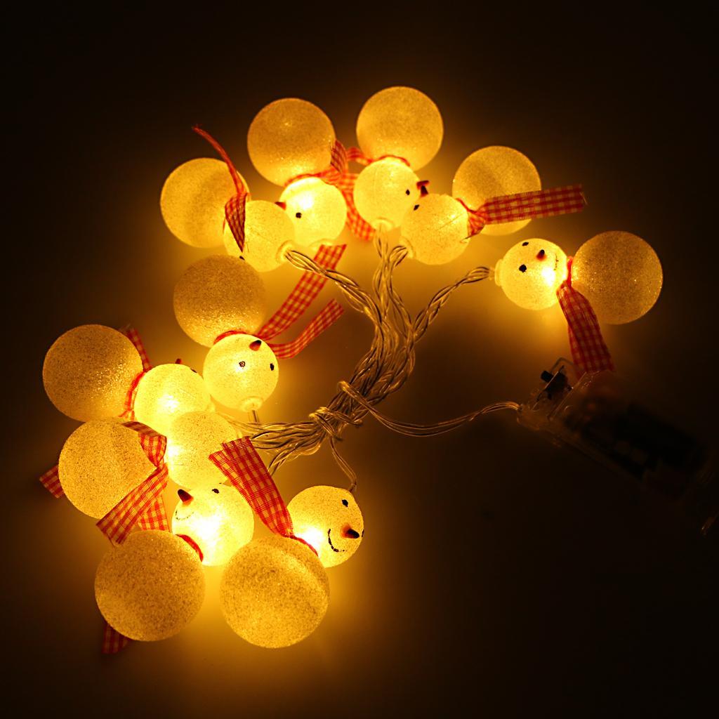 LED Snowman Shape String Fairy Light 1.5M Battery Powered Decorative Light