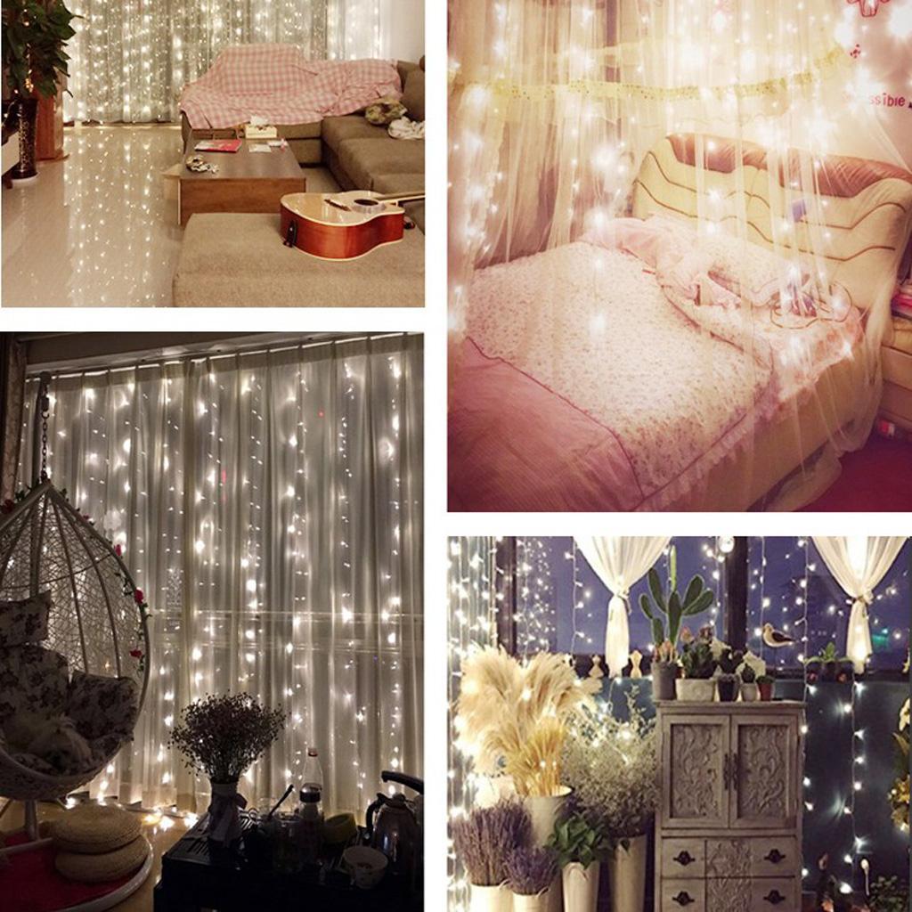 3*3M 304LED Christmas xmas String Fairy Wedding Curtain Light UK White