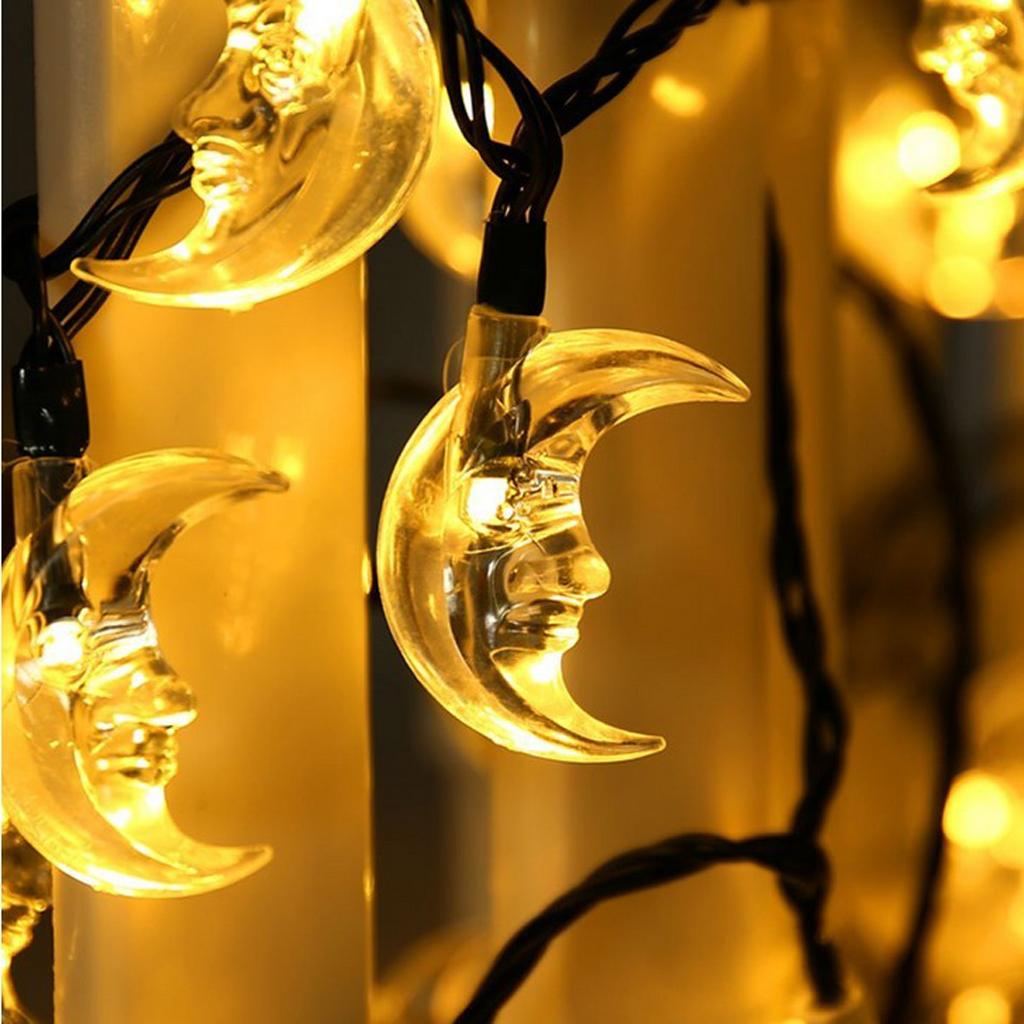6.35m Moon Solar String Fairy Lights Christmas Decoration Light  Warm White