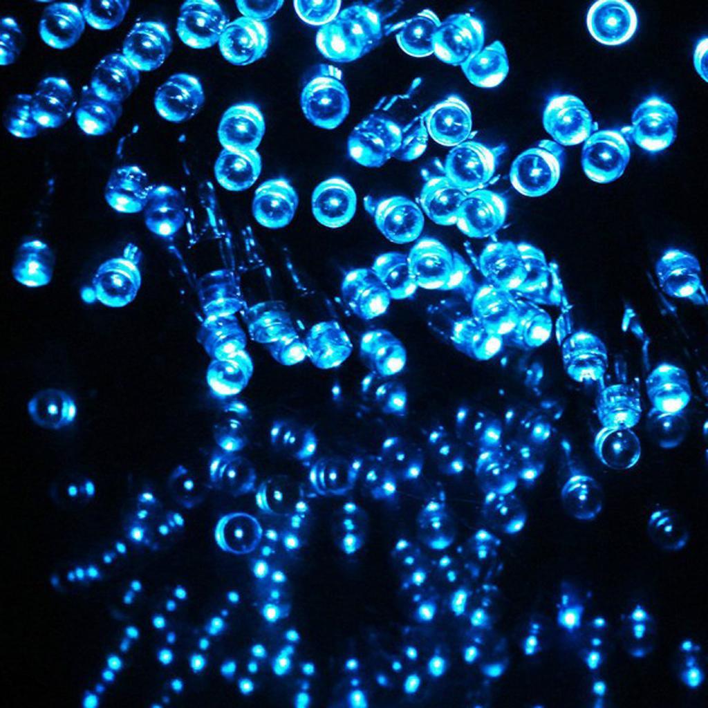 12m Solar 100-LED Fairy Light String Rope Light Christmas Decor Blue
