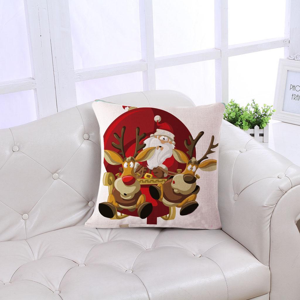 Merry Christmas Design Pillow Cover Linen Throw Sofa Bed Cushion Case #16