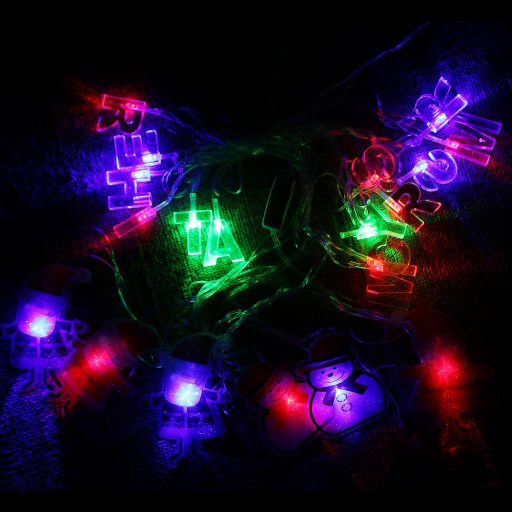 LED Santa Claus Shape String Fairy Light with Merry Christmas Letter-US Plug