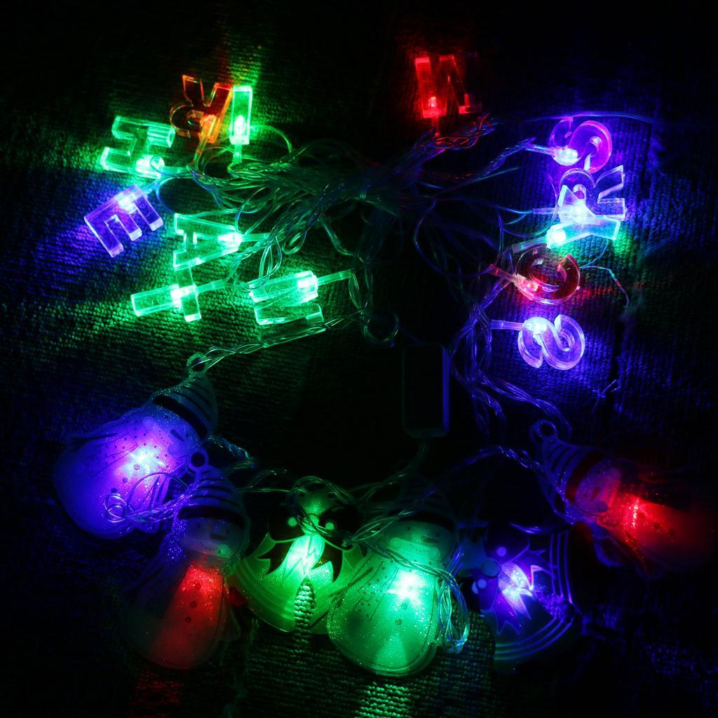 LED Snowman Shape String Fairy Light with Merry Christmas Letter - EU Plug