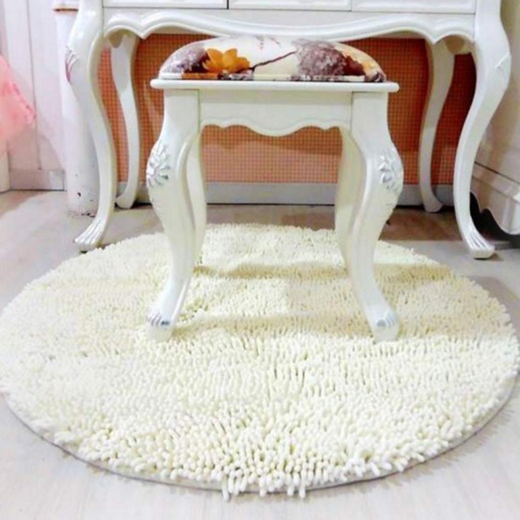 Round Non-slip Microfiber Shaggy Bathroom Mat Absorbent Carpet Dia. 60cm White