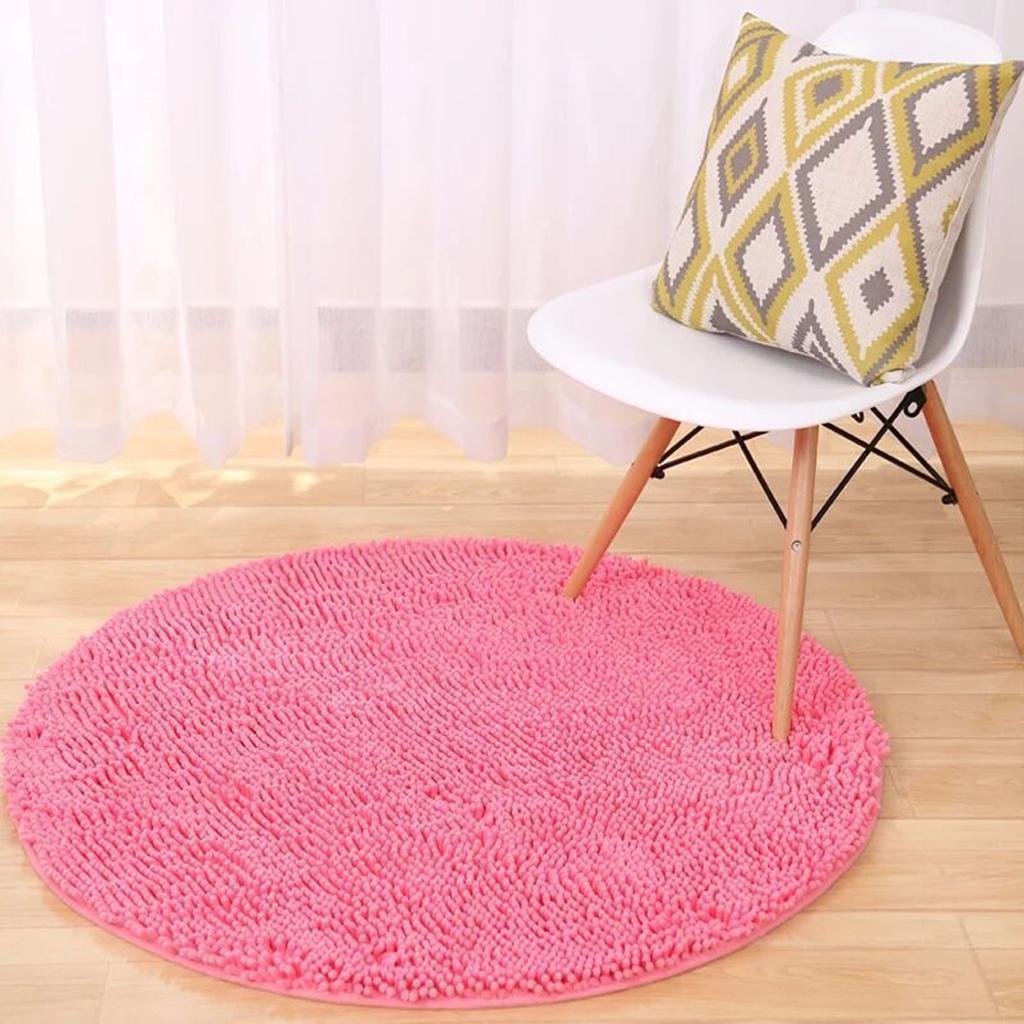 Round Non-slip Microfiber Shaggy Bathroom Mat Absorbent Carpet Dia. 60cm Pink