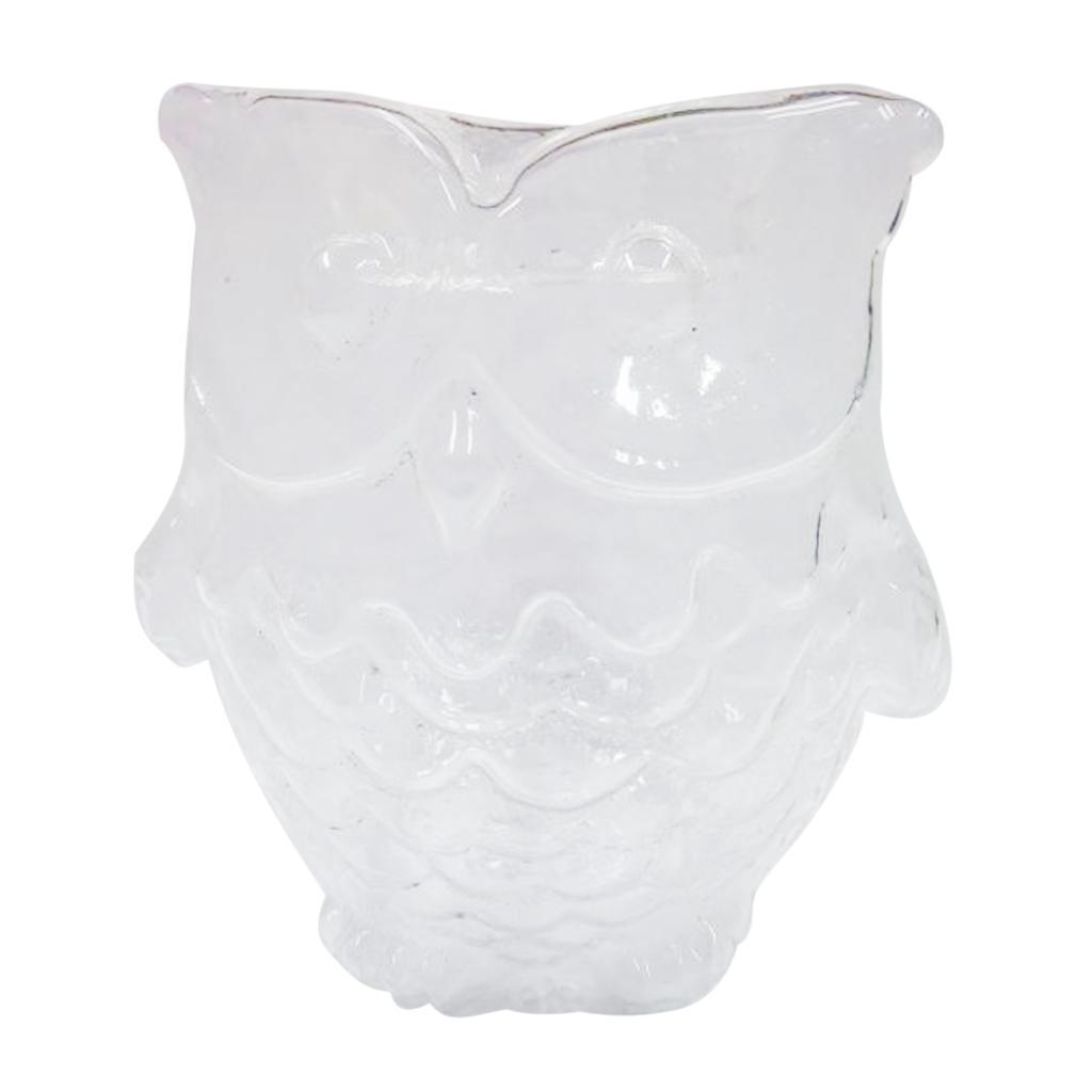 Glass Candle Holder Case Owl Design Wedding Birthday Pillar Candlestick 9cm