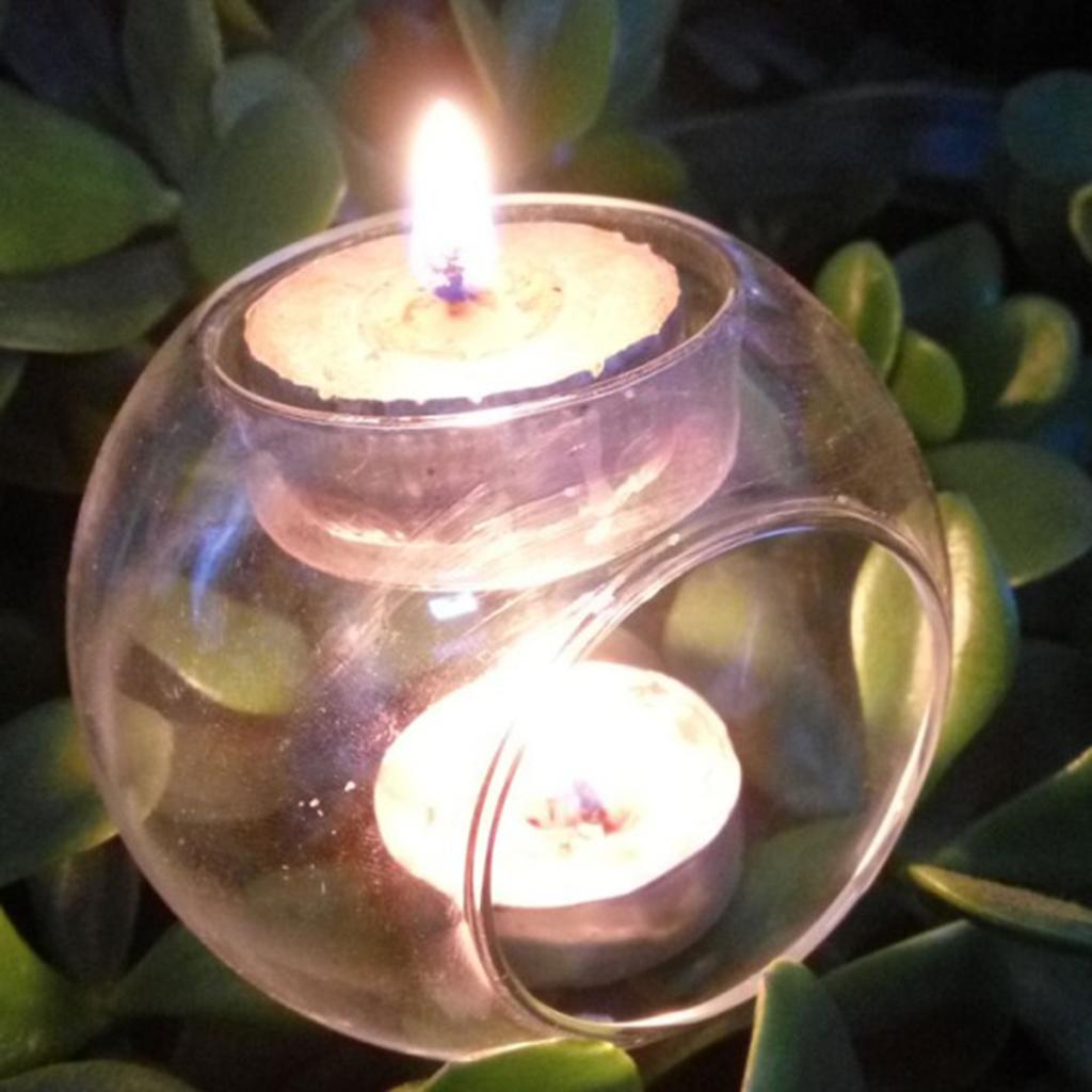 Glass Candle Holder Case Wedding Birthday Tealight Pillar Candlestick 10cm