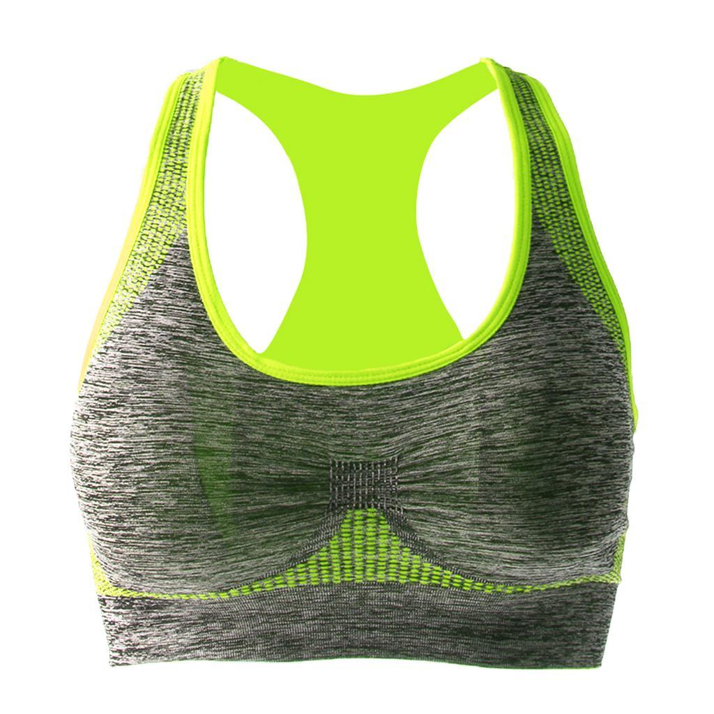 Seamless Bra Women Ladies Bra Padded Sports Bra Top Vest Comfort Bra Green M